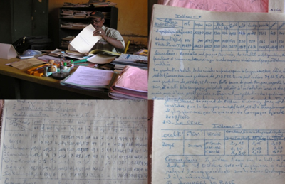 Example pluvial records digitized through Binyam's nichesourcing effort (photo's W. Tuijp)